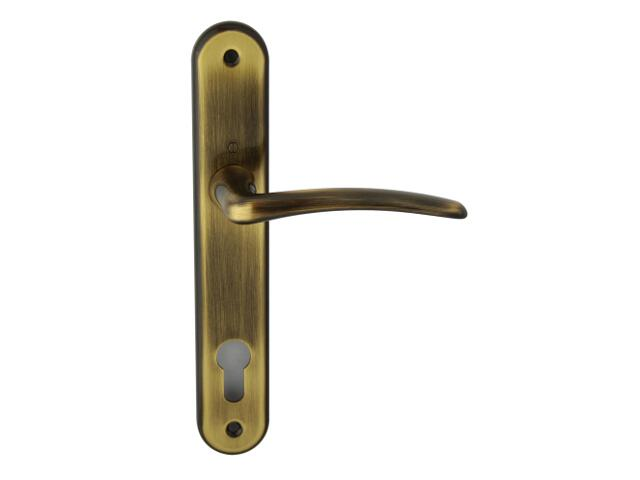 Klamka drzwiowa Istambuł szyld długi wkładka bębenkowa brąz grafiatto HOPPE