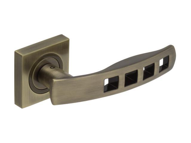 Klamka drzwiowa QUADRA szyld dzielony kwadratowy mosiądz antyczny DH-R-22-AB-KW Gamet