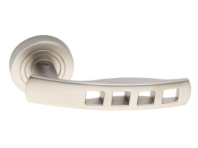 Klamka drzwiowa QUADRA szyld dzielony nikiel satynowy DH-R-22-06 Gamet