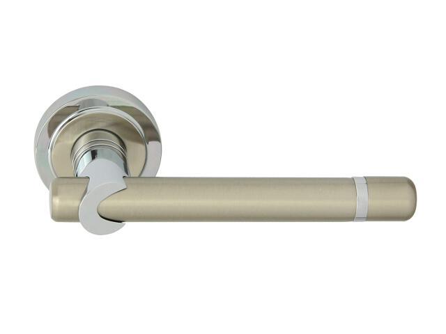 Klamka drzwiowa DELPHI-R szyld dzielony okrągły chrom lakierowany/nikiel lakierowany ROSSETTI