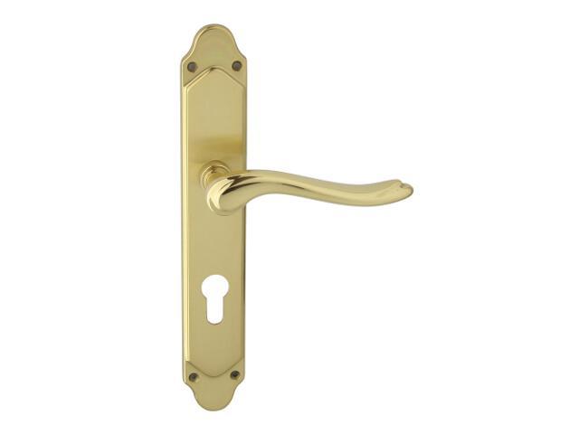Klamka drzwiowa NELLY szyld długi wkładka bębenkowa 90mm mosiądz lakierowany/satynowany ROSSETTI
