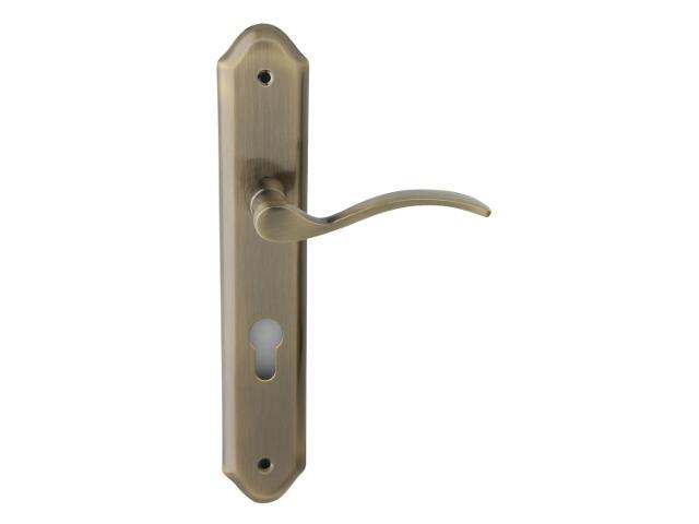 Klamka drzwiowa HERA szyld długi wkładka bębenkowa brąz grafiatto Domino