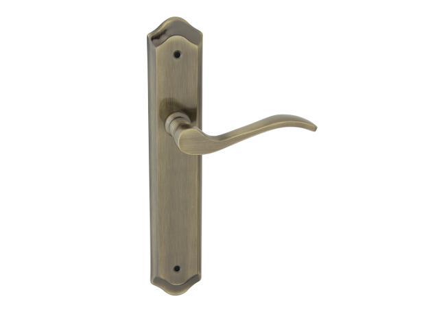 Klamka drzwiowa ATENA szyld długi bez otworu brąz grafiatto Domino