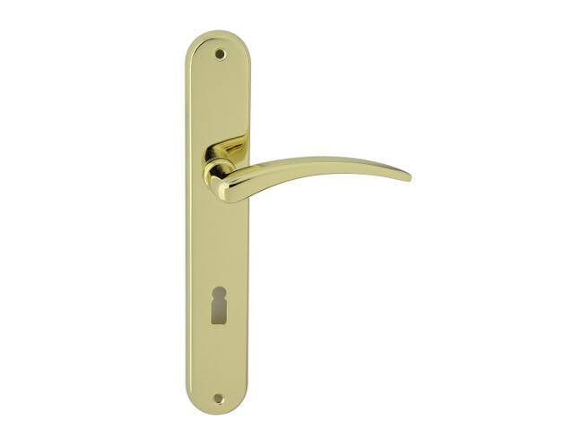 Klamka drzwiowa WING szyld długi klucz mosiądz lakierowany Domino