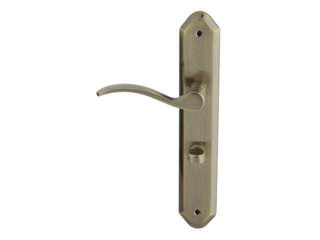 Klamka drzwiowa HERA szyld długi WC brąz grafiatto lewa Domino