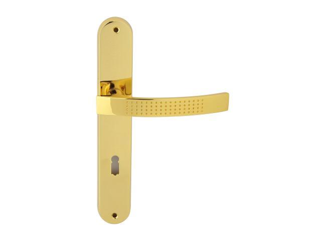 Klamka drzwiowa ALMA szyld długi klucz mosiądz lakierowany Domino