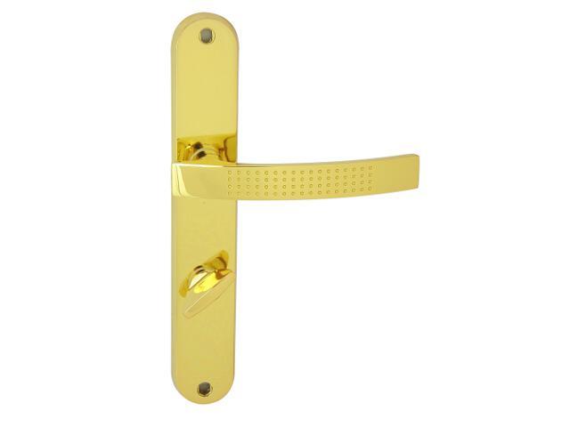 Klamka drzwiowa ALMA szyld długi WC mosiądz lakierowany prawa Domino
