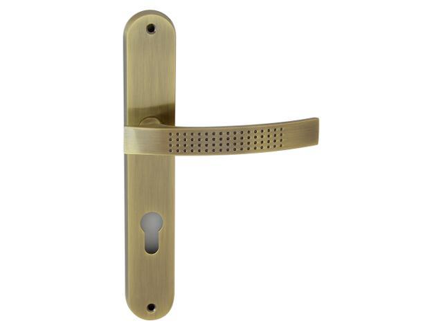 Klamka drzwiowa ALMA szyld długi wkładka bębenkowa brąz grafiatto Domino
