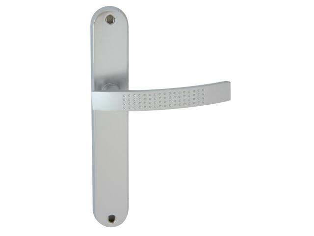 Klamka drzwiowa ALMA szyld długi bez otworu chrom satyna Domino