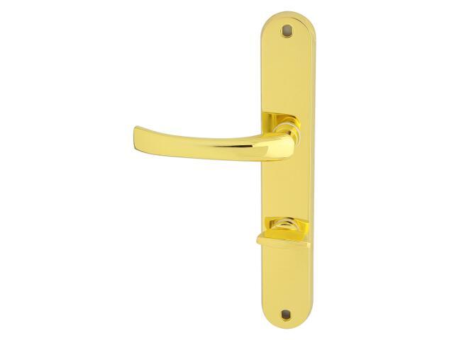 Klamka drzwiowa TINA szyld długi WC mosiądz lakierowany lewa Domino