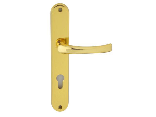 Klamka drzwiowa TINA szyld długi wkładka bębenkowa mosiądz lakierowany Domino