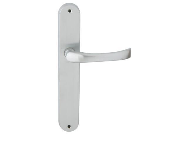 Klamka drzwiowa TINA szyld długi bez otworu chrom satyna Domino