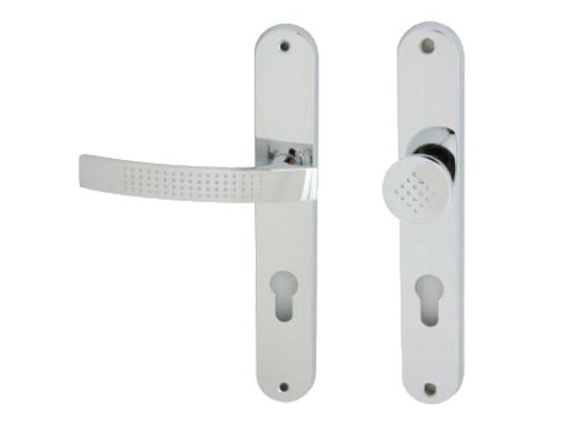 Klamka drzwiowa z gałką ALMA szyld długi wkładka bębenkowa chrom lakierowany lewa Domino