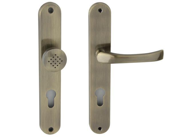 Klamka drzwiowa z gałką TINA szyld długi wkładka bębenkowa brąz grafiatto prawa Domino