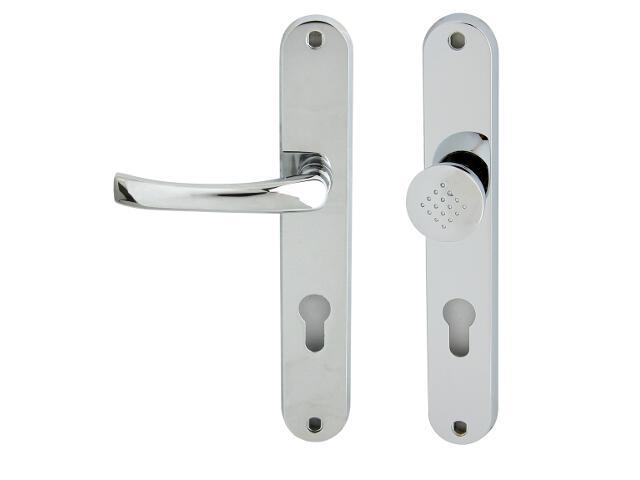 Klamka drzwiowa z gałką TINA szyld długi wkładka bębenkowa chrom lakierowany lewa Domino