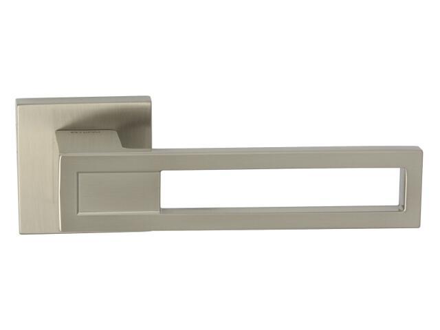 Klamka drzwiowa LIZBONA-QR szyld dzielony kwadratowy nikiel lakierowany TUPAI