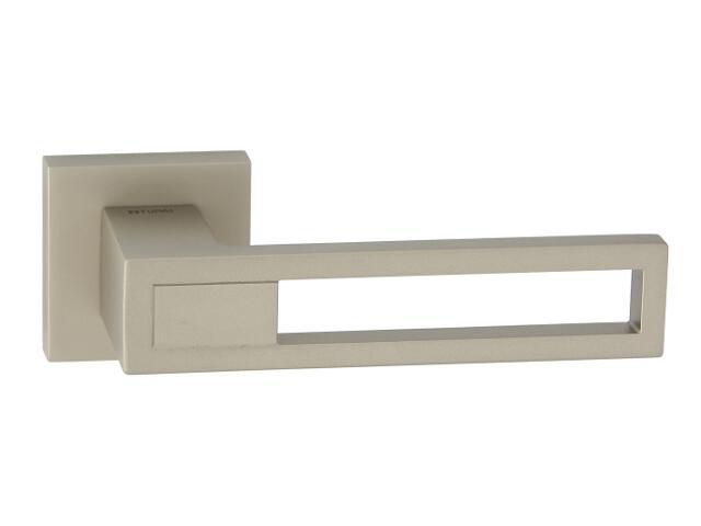 Klamka drzwiowa LIZBONA-QR szyld dzielony kwadratowy nikiel satyna velvet TUPAI
