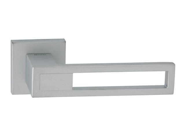 Klamka drzwiowa LIZBONA-QR szyld dzielony kwadratowy chrom satyna velvet TUPAI