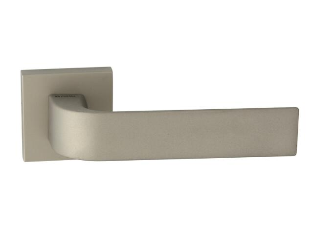 Klamka drzwiowa FARO-QR szyld dzielony kwadratowy nikiel satyna velvet TUPAI