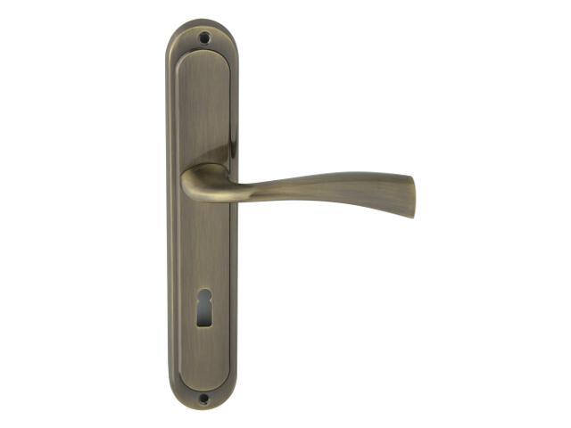 Klamka drzwiowa FLY szyld długi klucz brąz grafiatto Domino