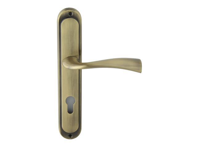 Klamka drzwiowa FLY szyld długi wkładka bębenkowa brąz grafiatto Domino