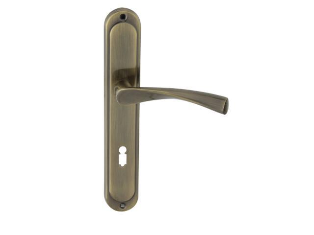 Klamka drzwiowa ROMANA szyld długi klucz brąz grafiatto Domino