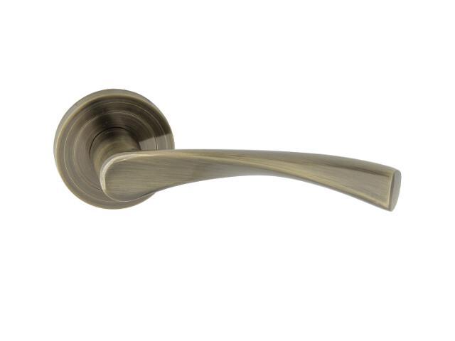 Klamka drzwiowa ROMANA-R szyld dzielony okrągły brąz grafiatto Domino