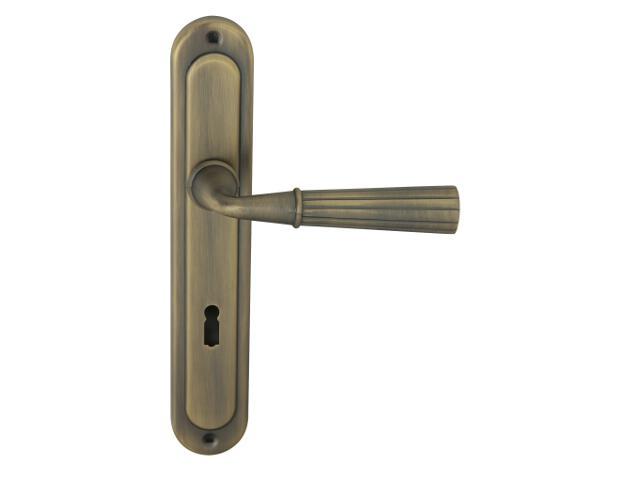 Klamka drzwiowa ANNA szyld długi klucz brąz mat Domino