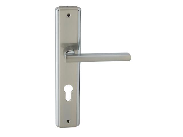 Klamka drzwiowa JANE szyld długi wkładka bębenkowa chrom/nikiel lakierowany prawa Domino