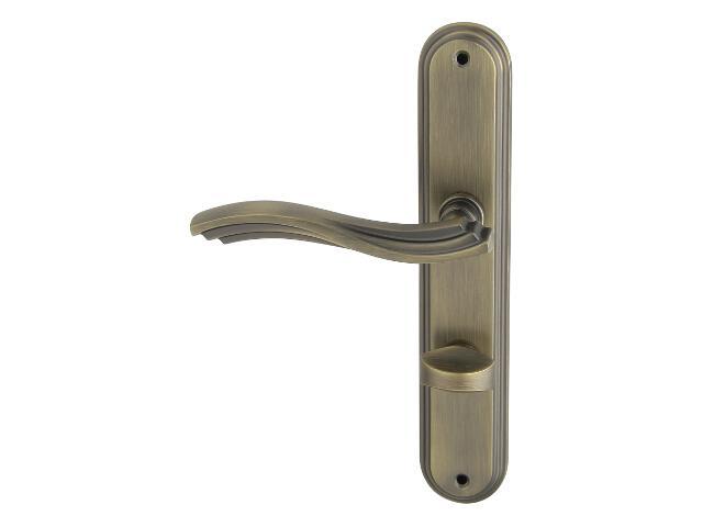 Klamka drzwiowa MALTA szyld długi WC brąz grafiatto mat lewa Domino