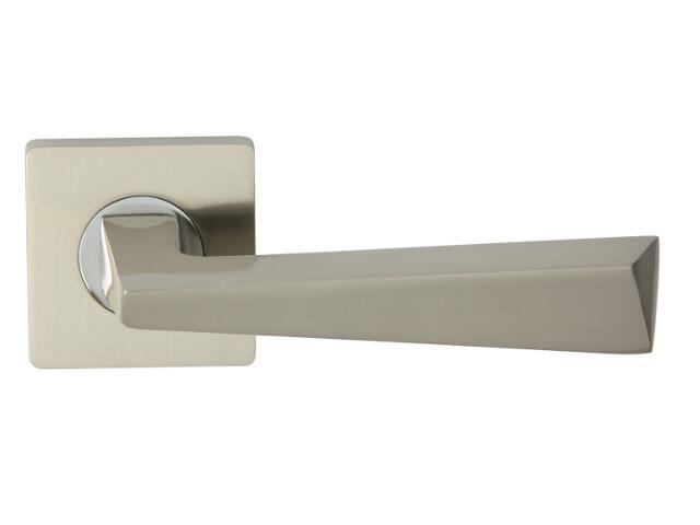 Klamka drzwiowa KYRK-QR szyld dzielony kwadratowy chrom lakierowany/nikiel lakierowany Domino