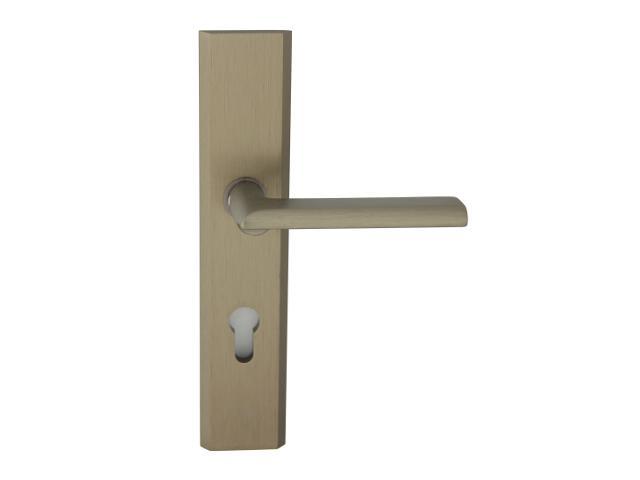 Klamka drzwiowa zewn. NOTE szyld długi wkładka 72mm tytan prawa klasa I AXA