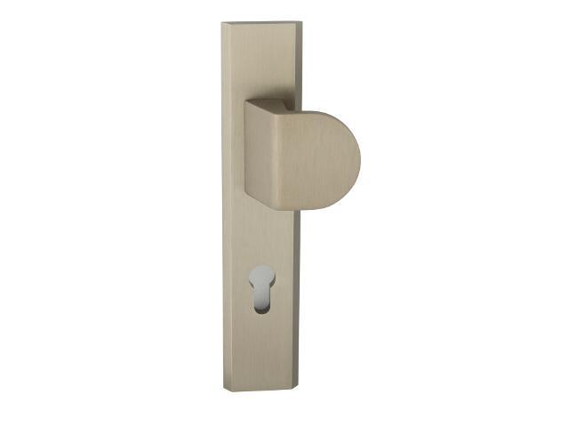 Klamka drzwiowa zewn. z pochwytem NOTE szyld długi wkładka 72mm tytan prawa klasa III AXA