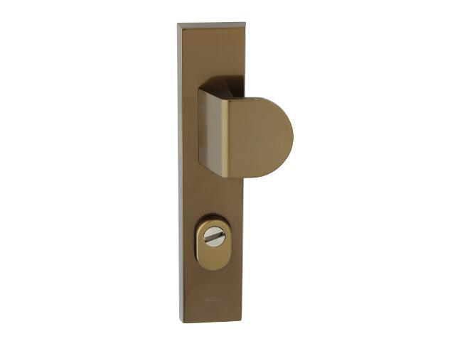 Klamka drzwiowa zewn. z pochwytem NOTE szyld długi 72mm brąz mat prawa klasa III z zab.cyl. AXA