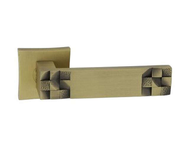 Klamka drzwiowa TORO-QR szyld dzielony kwadratowy brąz grafiatto mat ORO&ORO