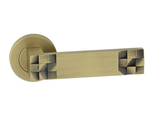 Klamka drzwiowa TORO-R szyld dzielony okrągły brąz grafiatto mat ORO&ORO
