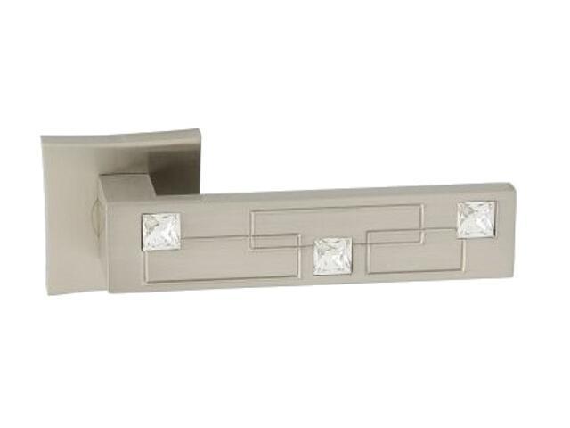 Klamka drzwiowa MAYA-QR szyld dzielony kwadratowy nikiel lakierowany CRISTAL ORO&ORO
