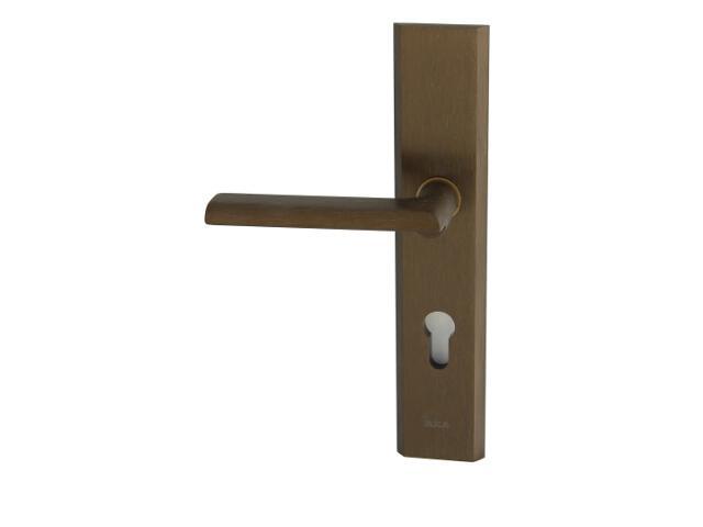 Klamka drzwiowa zewn. NOTE szyld długi wkładka 92mm brąz mat lewa klasa III AXA