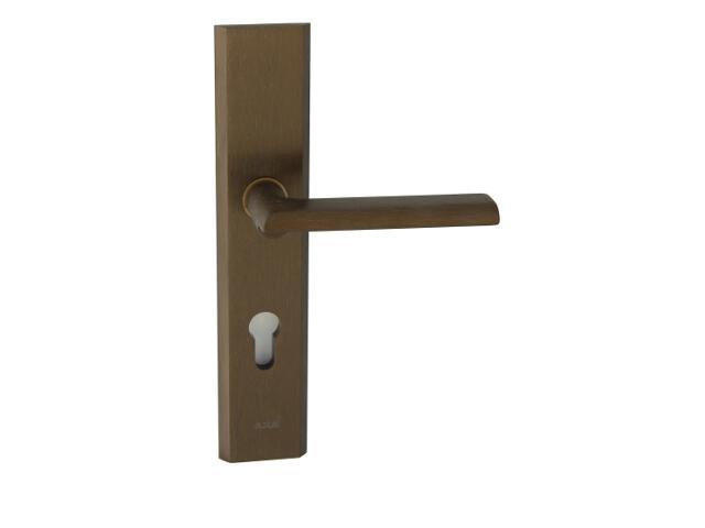 Klamka drzwiowa zewn. NOTE szyld długi wkładka 90mm brąz mat prawa klasa I AXA