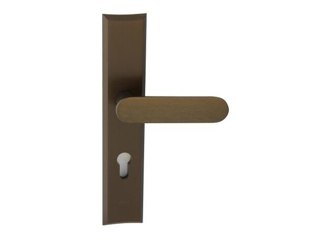 Klamka drzwiowa zewn. NESTOR szyld długi wkładka 90mm brąz mat klasa I AXA