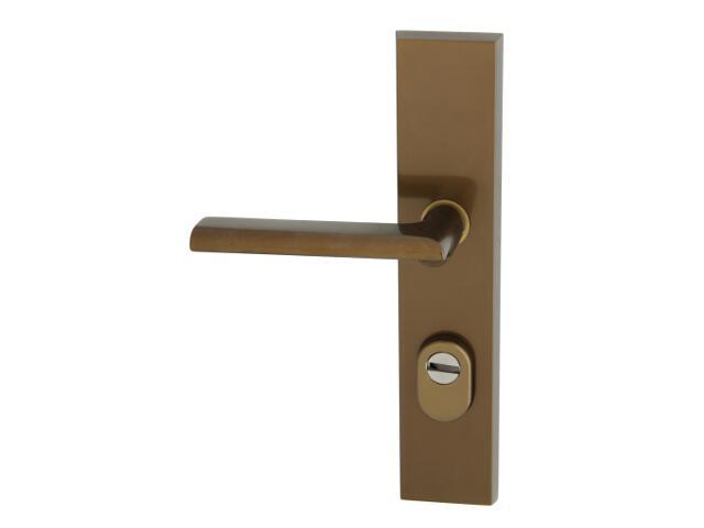 Klamka drzwiowa zewn. NOTE szyld długi wkładka 90mm brąz mat lewa klasa III z zab.cyl. AXA