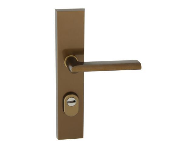 Klamka drzwiowa zewn. NOTE szyld długi wkładka 90mm brąz mat prawa klasa III z zab.cyl. AXA