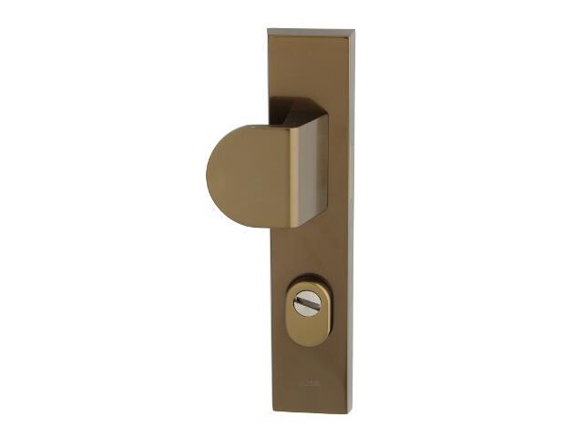 Klamka drzwiowa zewn. z pochwytem NOTE szyld długi 92mm brąz mat lewa klasa III z zab.cyl. AXA