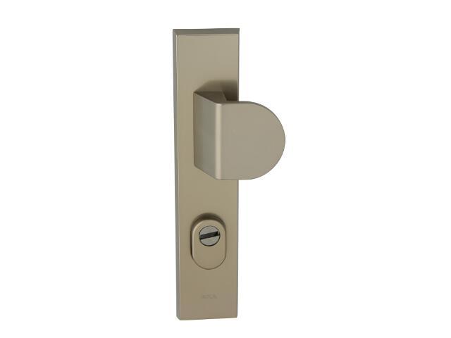 Klamka drzwiowa zewn. z pochwytem NOTE szyld długi 92mm tytan prawa klasa III z zab.cyl. AXA