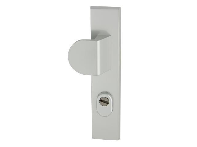 Klamka drzwiowa zewn z pochwytem NOTE szyld długi 90mm srebrny mat lewa klasa III z zab.cyl. AXA