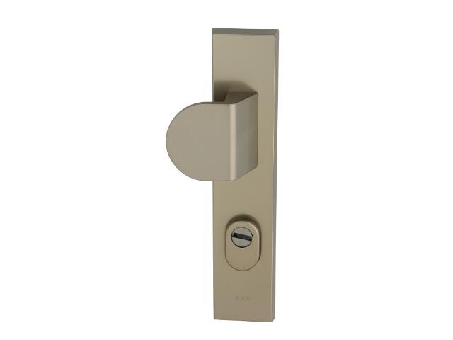 Klamka drzwiowa zewn. z pochwytem NOTE szyld długi 90mm tytan lewa klasa III z zab.cyl. AXA