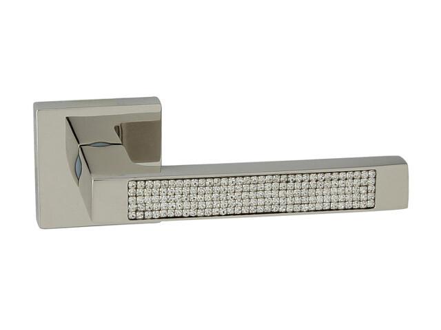 Klamka drzwiowa ELECTRA-QR szyld dzielony kwadratowy chrom perłowy ROSSETTI