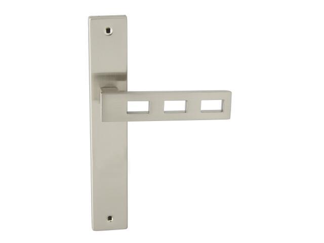Klamka drzwiowa TRE szyld długi bez otworu nikiel lakierowany Domino