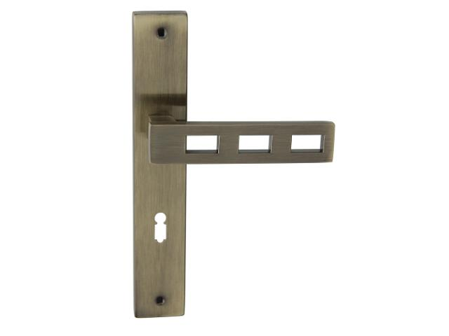 Klamka drzwiowa TRE szyld długi klucz brąz grafiatto Domino
