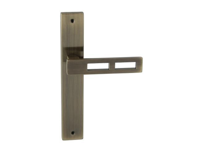 Klamka drzwiowa TOM II szyld długi bez otworu brąz grafiatto Domino